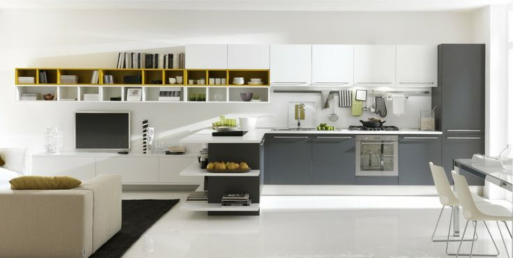 Kitchen, Chic white and grey kitchen with white gray kitchen cabinet and nice yellow shelves: Extraordinary Modern Kitchen Designs by Italia...