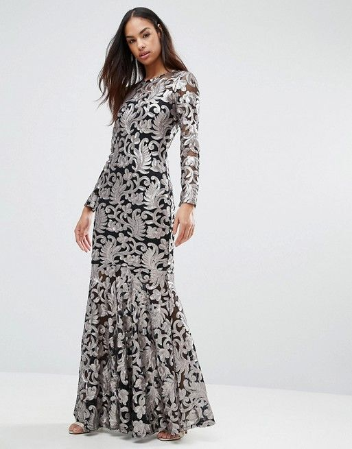 Brocade Embroidery Long Sleeve Maxi Dress With Split Front - Navy/light pink Club L Outlet Find Great For Sale Cheap Price From China xP6eIU