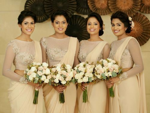 Cream Chiffon Bridesmaid Saree With Designer Blouse-BP0241  Get from : https://lnkd.in/fnDxyDq