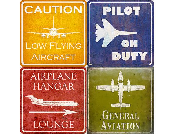 Vintage style aviation signs for boy's airplane room - set of four - fits affordable ikea frames