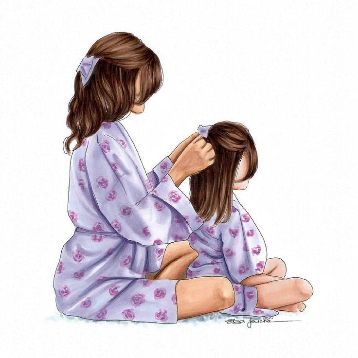 Нарисованные картинки мамы с дочкой