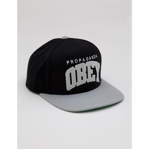Obey Throwback Snapback Cap - Black/Silver ($21) ❤ liked on Polyvore