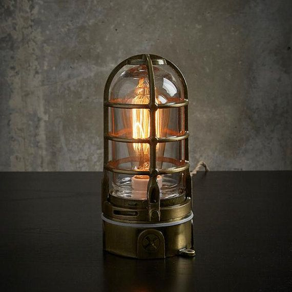 Antique Brass Industrial table Lamp with touch Dimmer, steampunk Edison cage lamp, modern decor, nautical lantern 120v-240v