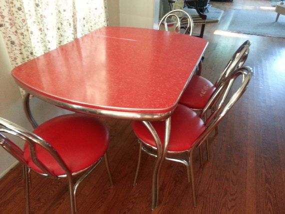 Vintage Red Formica Kitchen Table And 4 Matching Chairs