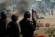 Armed riot police attack striking teachers in the town of Nochixtlan, Oaxaca, June 19, 2016.