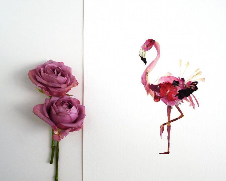 Flamingo print Pressed flowers framed Bird prints #flamingos #birdart #pressedflowers #driedflower