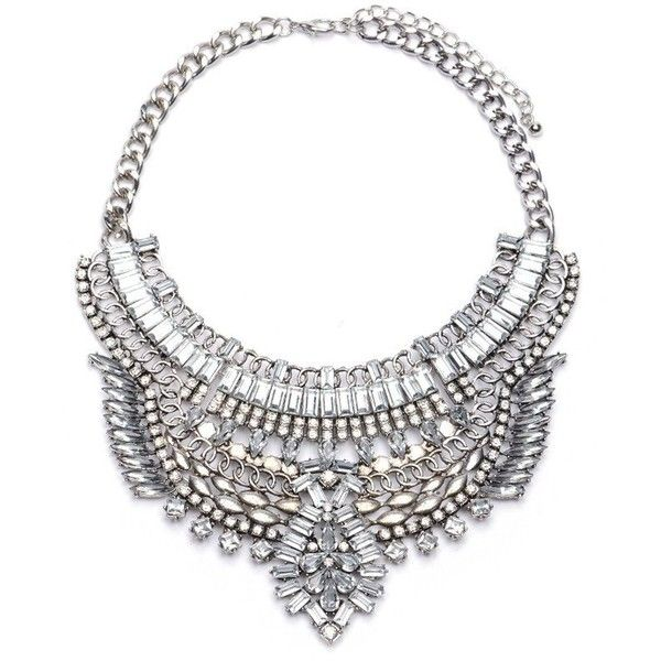 Chunky Crystal Silver Chain Pendant Bib Collar Necklace (38 AUD) ❤ liked on Polyvore featuring jewelry, necklaces, pendant necklace, silver bib necklaces, silver necklace, collar necklaces and statement necklaces