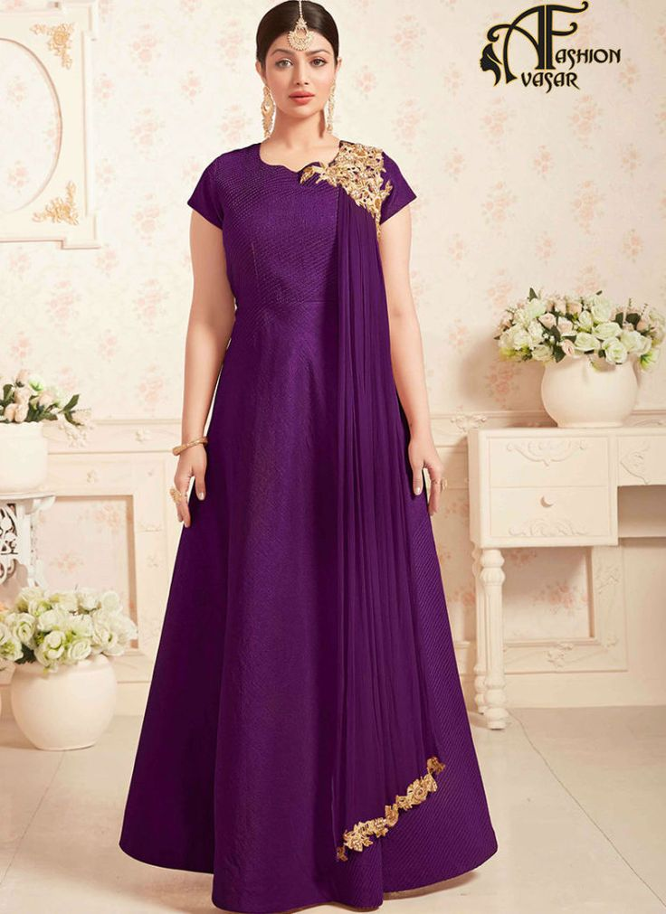 Long Anarkali salwar suit online shopping – Purple Silk buy salwar kameez online