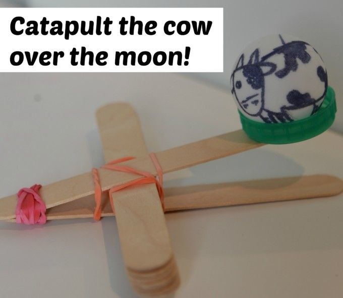 Catapult the cow over the moon - preschool science activity to go along with hey diddle diddle nursery rhyme