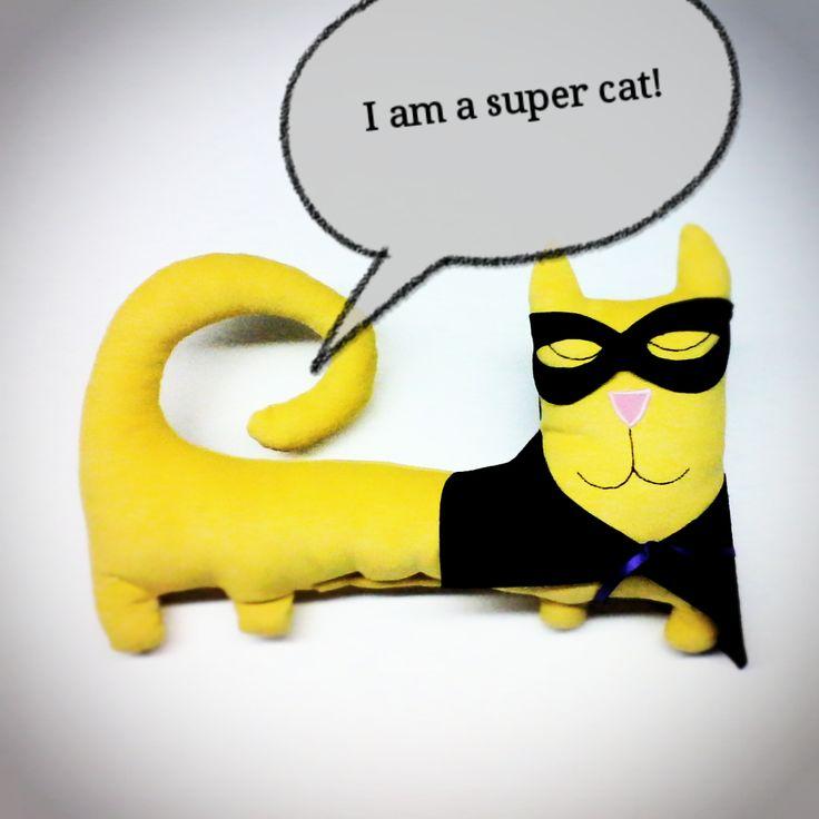 Softies,  handmade toys for kids,  super hero cat  Χειροποίητο μαλακό παιχνίδι Γάτα Σουπερ Ήρωας