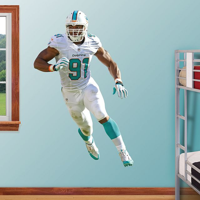 Cameron Wake - Defensive End REAL.BIG. Fathead – Peel & Stick Wall Graphic | Miami Dolphins Wall Decal | Sports Home Décor | Football Bedroom/Man Cave/Nursery