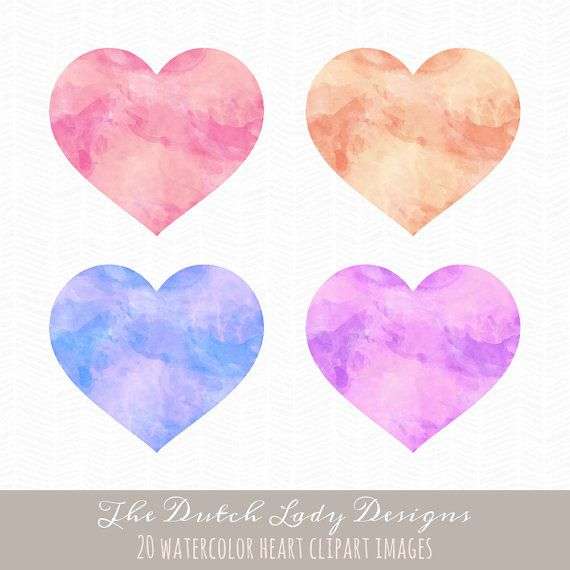 Watercolor Heart Clipart  20 Large Digital by TheDutchLadyDesigns
