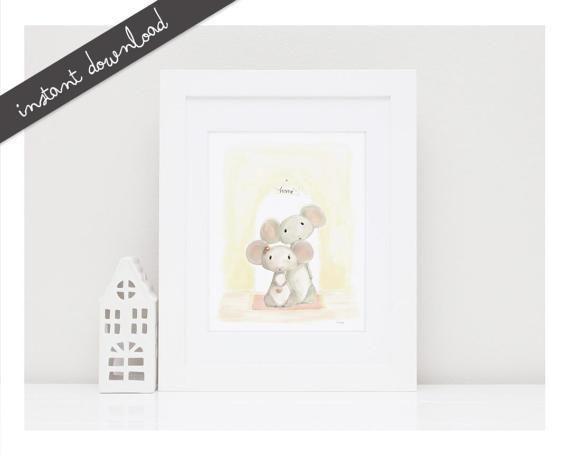 Printable Nursery Art''Home'Printable by LittleYellowDaisiess