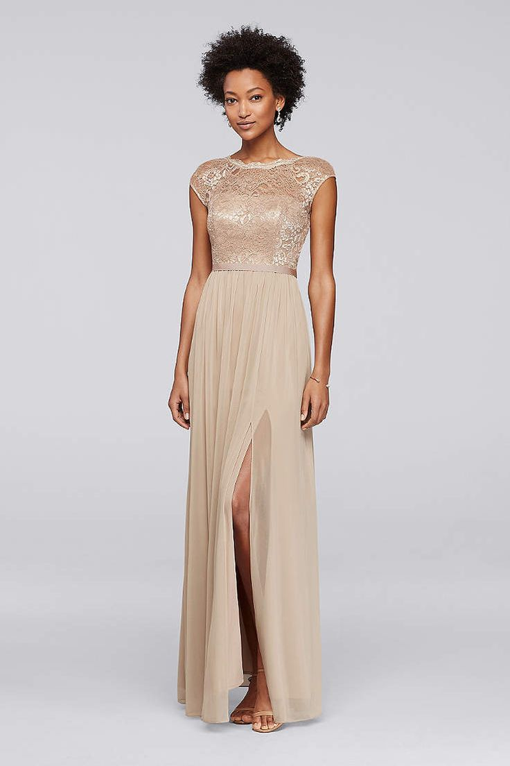 Looking for show stopping bridesmaid dresses? David Bridal's collection of gold, champagne, rose gold, & gold glitter bridesmaid dresses is perfect for you!