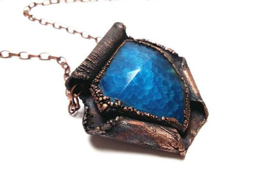 Deep Blue Agate Copper Pendant Electroformed Copper Pendant