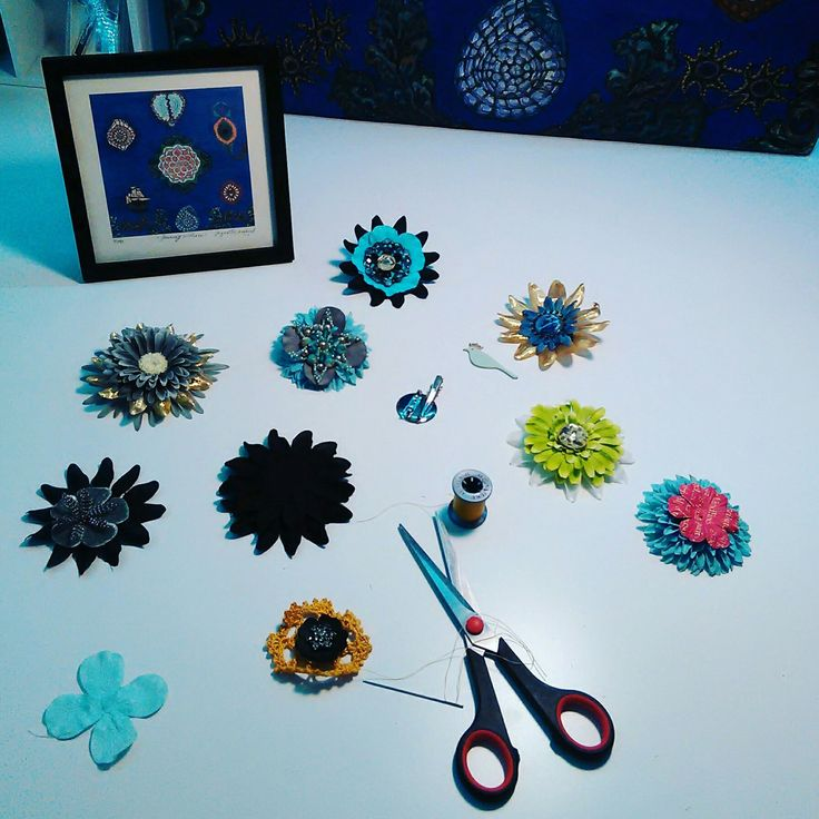 In the making of beaded flower brooches.