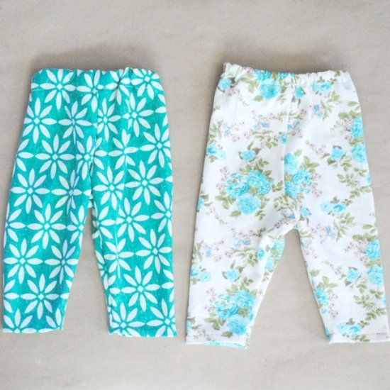 Sew your own baby leggings with this free printable pattern.