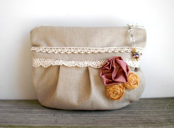 Bags and Purses / Pouch / Zipper /  shabby chic linen / yellow pink roses / Victorian inspired / rustic bag / White Dog Vintage on Etsy. $34.00, via Etsy.