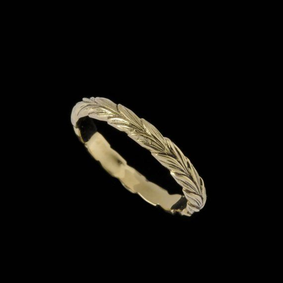 Narrow Leaf Ring Band Engraved Collection by BowmanOriginals