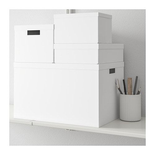 Tjena Storage Box With Lid White 9 X13 X7 Ikea Storage Boxes With Lids White Storage Box Storage Boxes