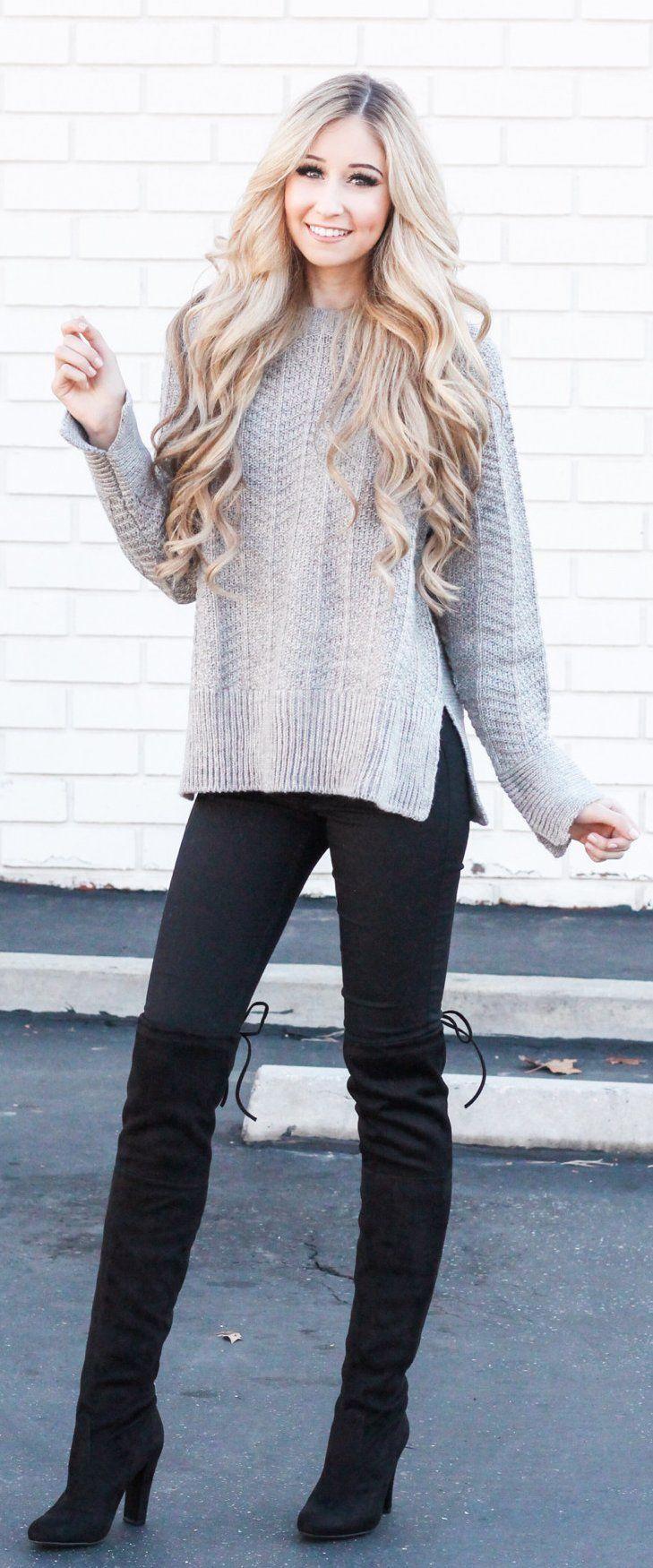 #winter #fashion / Grey Knit / Black Skinny Jeans / Black Velvet OTK Boots