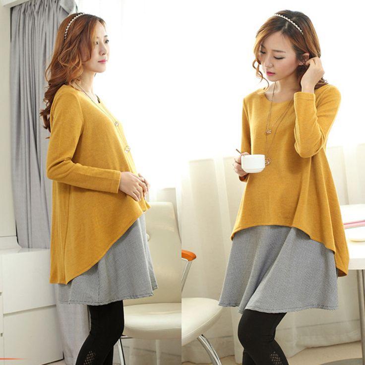 Η άνοιξη χειμώνα καυτή μαμά της μόδας μητρότητας κορεατικό κείμενο νωρίς έγκυος ρούχα στις αρχές του κώδικα χαλαρή φόρεμα παλτό.