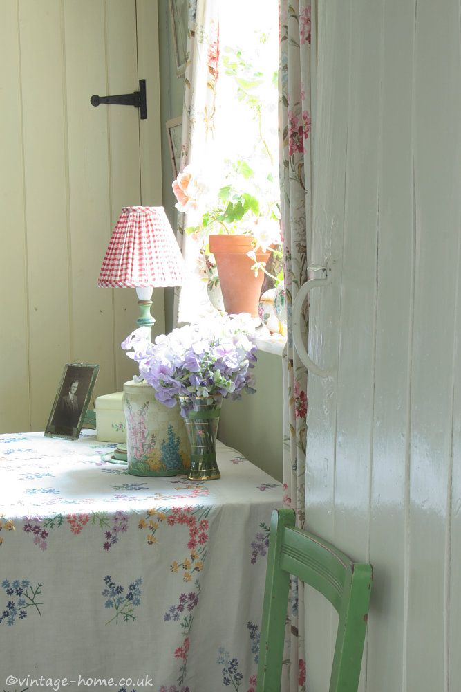 English Country Cottage | Morning sunlight shines through the geranium window in the snug in our Herefordshire Cottage: www.vintage-home.co.uk