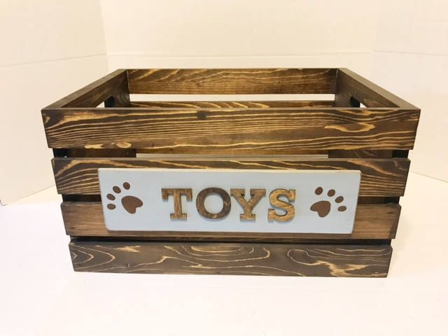 Rustic Wooden Dog Toy Box, Toy Box, Pet Toy Box, Dog Toys, Dog Storage, Dog Toy Storage, Dog Toy Bin, Custom Toy Storage, Rustic Toy Box by EatAndBark on Etsy