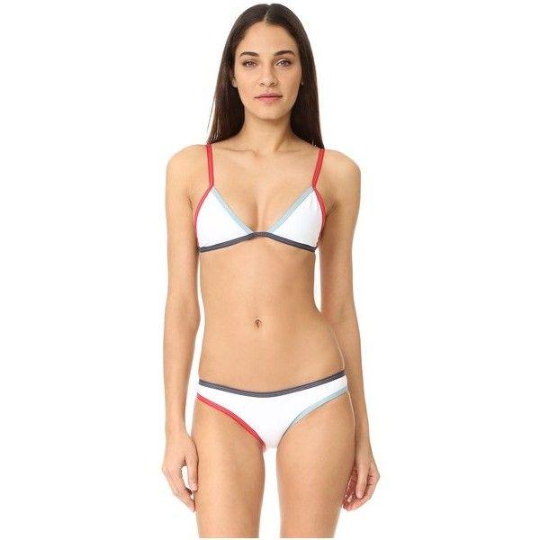 Tavik Swimwear Jett Triangle Top (£60) ❤ liked on Polyvore featuring swimwear, bikinis, bikini tops, white, white tankini top, tavik swimwear, white swimwear, swimsuit tops and white swim top
