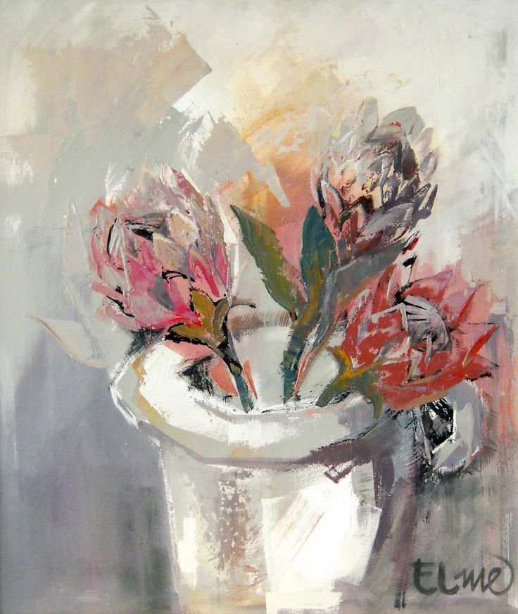 abstract oil painting of proteas - Google Search