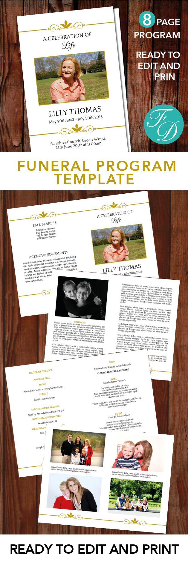 Gold Printable Funeral program ready to edit & print. Simply purchase your funeral templates, download, edit with Microsoft Word and print. #obituarytemplate #memorialprogram #funeralprograms #funeraltemplate #printableprogram #celebrationoflife #funeralprogamtemplates