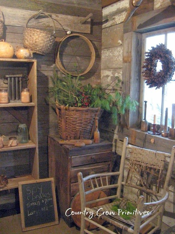 2935 best images about primitive home on pinterest for Country cabin christmas