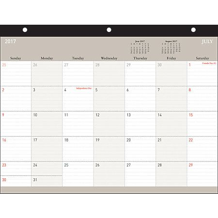 "Office Depot® Brand Academic Monthly Desk Pad Calendar, 8 1/2"" x 11"", Johnny, July 2017 to June 2018"