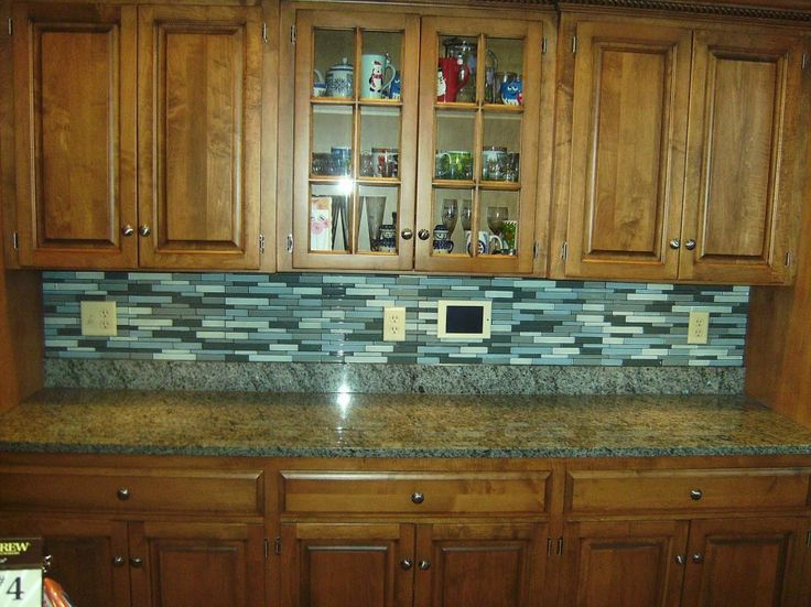 Decoration, Funky Glass Tile Backsplash Ideas With Rustic Wooden Kitchen  Cabinat Glass Doors And Marble