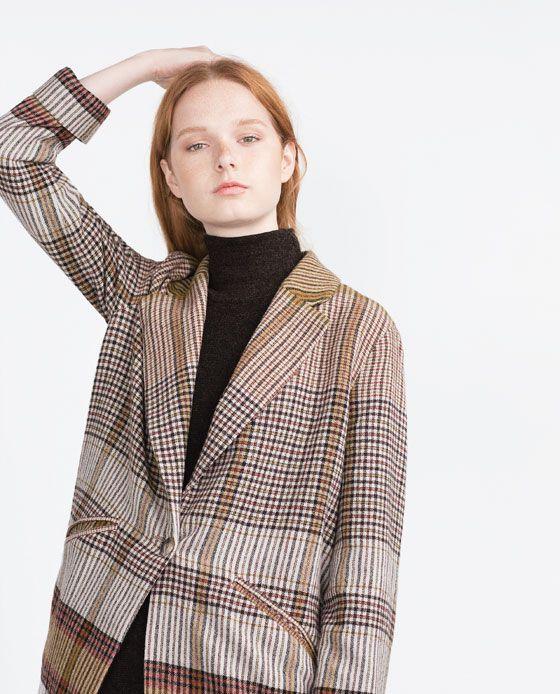 Zara Woman Checked Coat Karierter Mantel Zara Damen