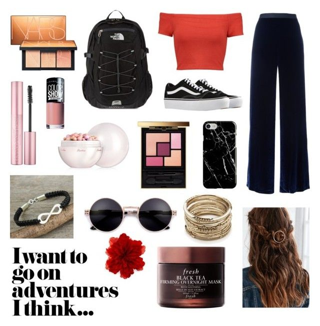 """""""Elegant in red❤️"""" by emmina-1 on Polyvore featuring T By Alexander Wang, Vans, Alice + Olivia, The North Face, Recover, Yves Saint Laurent, Guerlain, NARS Cosmetics, Maybelline e NOVICA"""