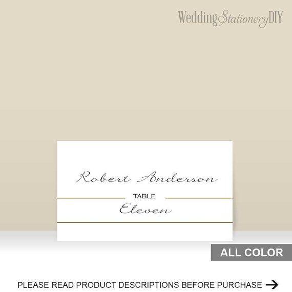 Gold wedding escort card template by WeddingstationeryDIY on Etsy