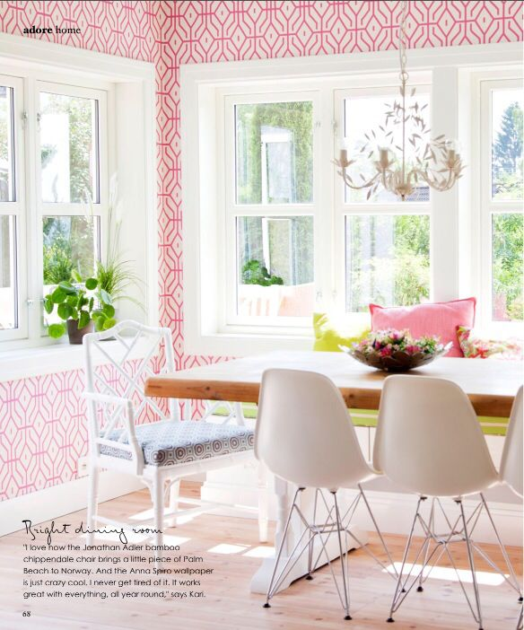 Pink Dining Room In The Home Of Kari Torgensen In Norway