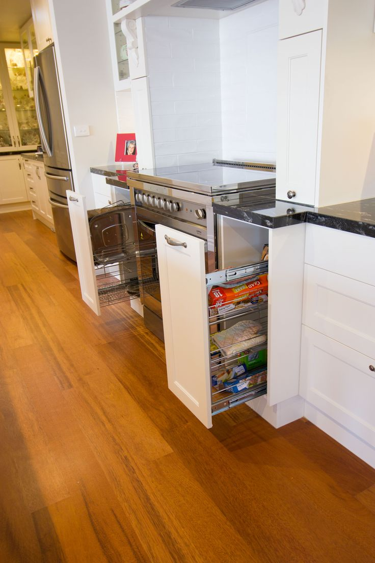 Traditional kitchen. Pull-out pantry. Oil and spice storage. www.thekitchendesigncentre.com.au