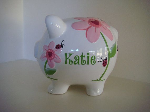 Personalized Piggy Bank Lilly Pink and Lime by personalize4you, $29.00