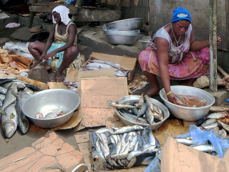 Ga women cleaning fish for smoking at Jamestown in Accra, Ghana.