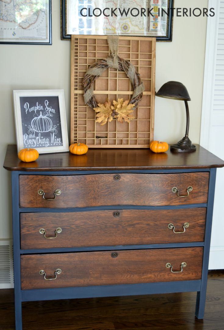 An antique serpentine dresser is given a makeover with OFMP, stain, and Hope's Tung Oil / Clockworkinteriors.com