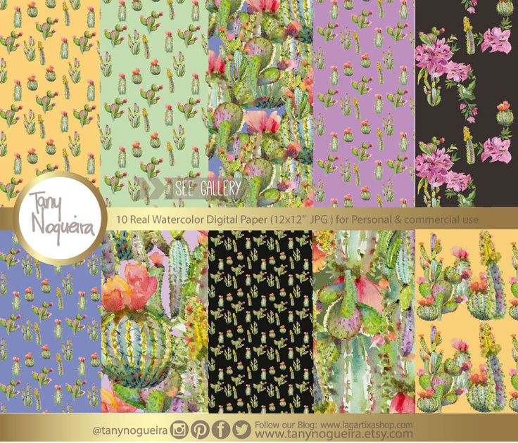 New new Cactus patterns! https://www.etsy.com/mx/listing/509178065/cactus-papel-digital-acuarela-cactus #desert #mexico #Arizona #santafe #mexicanpatterns #cactusdesigns