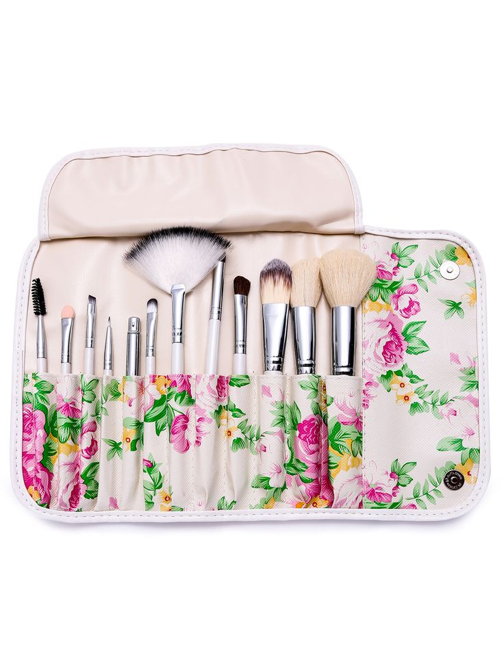 Shop 12PCS White Professional Makeup Brush Set With Floral Print Bag online…