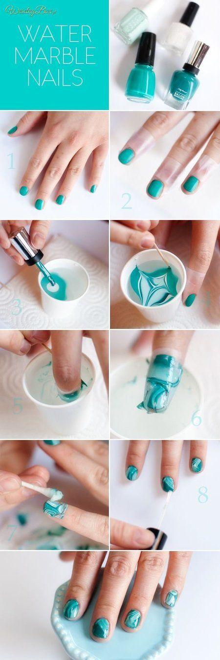 Water Marble Nails Howto #nailart #teal #tutorial - bellashoot.com