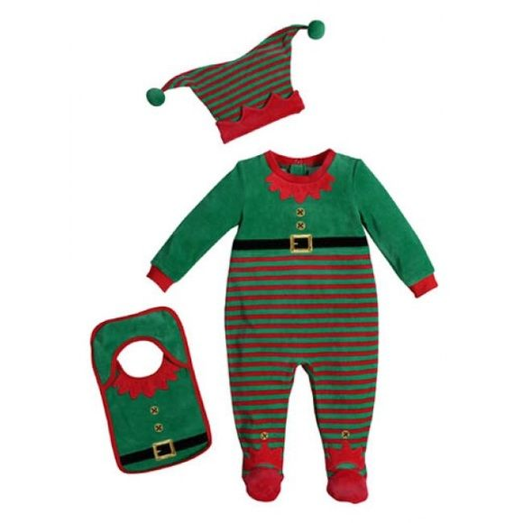 "Petit Lem Elf Pajama Set Petit Lem Santa's Elf Pajama Set. Think Holiday Photos with This 3 Piece Elf pajama set from Petit Lem's Collection. TOO CUTE FOR WORDS! Your little one will be the ""Hit of the Holidays"" in these red and green knit Elf Footie Pajamas, Elf Hat, and Bib!!! Size: 6 M Petit Lem Tops"