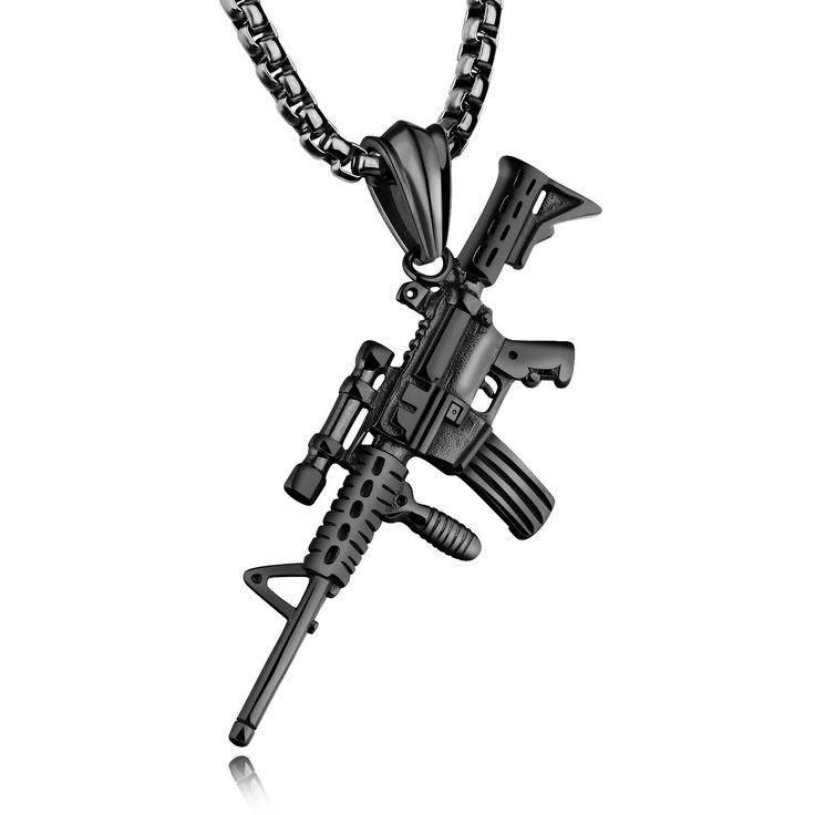 316L en acier inoxydable, hommes, argent, or, noir, pistolet, pendentif, titane, acier, charme, collier - Banggood Mobile