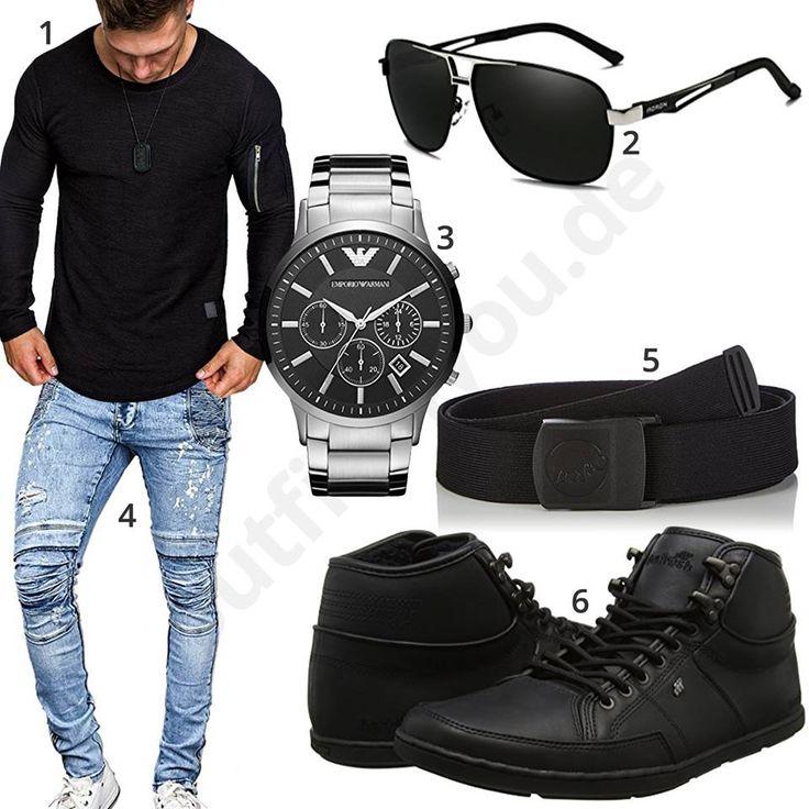 Schwarzer Style mit Pullover, Brille und hohen Boxfresh Sneakern (m0954)
