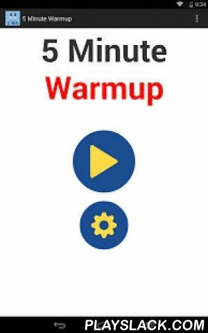 5 Minute WARM UP Pre-Workout  Android App - playslack.com , Light and fluid stretching movements are essential to lessening the likelihood of muscle and ligament strains. It's also a good idea to gradually introduce physical effort to your cardiovascular system so as to not shock the body into sudden exertion.This 5 minute warm up workout is ideal for getting the blood flowing and the muscles warmed up for more strenuous challenges to follow.As an added benefit, this is a calorie burning…