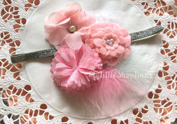 Cute trio pink flower Baby Headband by MylittleshopFinds on Etsy